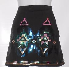 Bongo Juniot Bling Sequin Tribal Jersey Mini Skirt Black Medium (M) MSRP $48.00