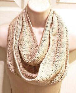 Hand Knit Beige Soft Merino Wool Infinity Scarf Cowl Free Shipping