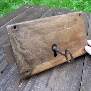 Original Antique Wood Encased Door Lock with WORKING KEY