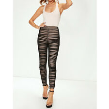 Womans Celeb Style Cheap Black Sheer Mesh Ruched Leggings Party Club Leggings BN