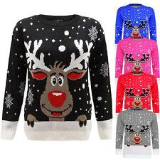 Kids Reindeer Christmas Snow Flake Star Rudolf Jumper Girls Xmas Knitted Sweater