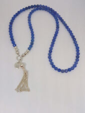 Sterling Silver Ball  blue Agate Stone Beaded Tassell Necklace