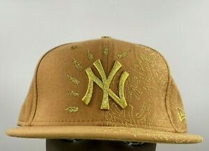 New Era 59 fifty NY Yankees 7 5/8 Gold Embroidered logos Genuine MLB Fitted