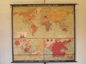 Schul-Wandkarte Das Deutschtum der Erde 217x197~1929 vintage german diaspora map