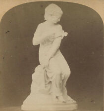 STEREOVIEW  STATUE YOUNG WOMAN WITH OFF THE SHOULDER WRAP.