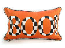"MacKenzie-Childs Halloween BOO Throw Pillow w/ Courtly Check® 15.5"" x 10""-Silk"