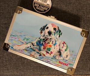"Vaultz Locking Supply Pencil Box Painted Puppy Dog 8.5"" x 5.5"" x 2.5"""