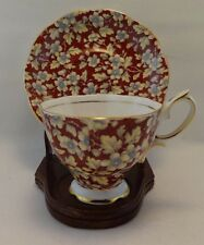 Royal Albert Wine Chintz Floral Footed Cup and Saucer Vintage Rare