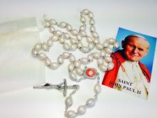 WOODEN Rosary touched to Pope John Paul II first class relic COA GIFT JPII JP II