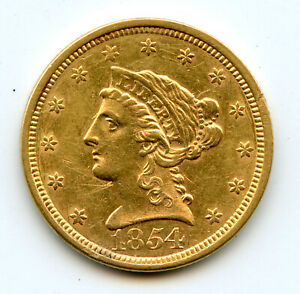 Genuine Gold 1854 US $2.50 Liberty Head Coin   XF+ Details