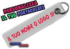 PORTACHIAVI PERSONALIZZATO STOFFA 2,5 CM X 12 CM RETTANGOLARE SCRITTA LOGO NOME