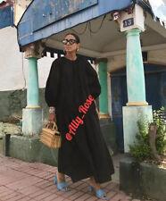 Zara Black Poplin Midi Dress With Puff Sleeves. Size S REF 4786/272