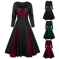 Women Ladies Vintage Ruffle Halloween Costume Gothic Party Fancy Dress Plus Size