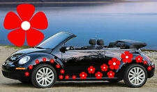 32,Red Pansy-White Centers Car Stickers,Car Graphics,VW Beetle,Flower Stickers