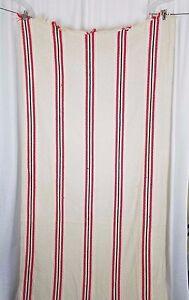 Vintage Bates Woolen Mills Woven Fringe Table Runner Tablecloth Red Striped
