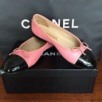 100%org Chanel Schuhe Ballerina Gr 37(36,5)pink/schwarz Leder Box Stoffbeutel