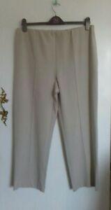 Isle Ladies Size 18 Elasticated Beige Wide Leg Trousers Summer Casual
