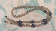 Smoky Topaz & Green Glass Bead Eyeglass Holder Chain Necklace Lanyard