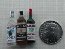 Dollhouse Miniature Set 3 Liquor Bottles - Vodka - Rum - Scotch  1:12 scale