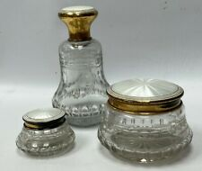 Set of 3 Guilloche White Enamel Sterling Silver Cut Glass Dresser Jars
