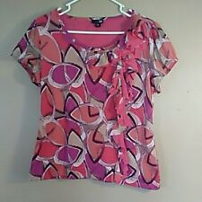 East 5th Womens Petite XL Pink Orange Multicolor Short Sleeve Blouse with Ruffle