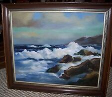 "Vintage Original Oil Seascape Painting Signed Framed 20"" x 24"""