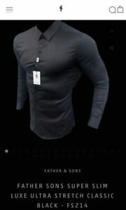 FatherSons Super Slim Luxe Shirt in Black - sz XL - NEW WITH TAGS father sons