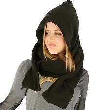 Winter Fleece Hooded Scarf Pullover Headscarf Neckwarmer Hoodie Ski Hat Black