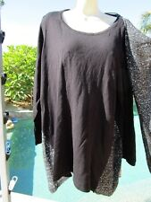NEW XL 1X sweater stretch top long sleeve cotton blend matching scarf sparkle