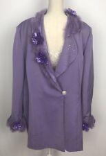 Mens XL  Pimp Jacket Purple Adult Costume Halloween Feathers Flowers Diamonds