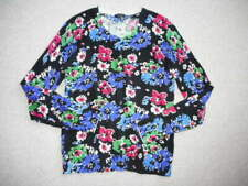 Womens Sweater-TALBOTS-black/white/blue/red/green floral button cardigan ls-S