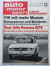 Auto Motor Sport 13/1967, TEST: Alfa Romeo GTV