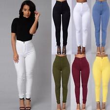 Women Skinny Pencil Pants High Waist Stretch Slim Fit Ladies Jegging Trousers