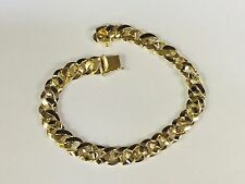 "14kt solid Yellow gold handmade Curb Link mens bracelet 9"" 30 Grams 8.5 MM"