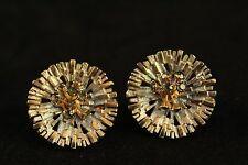 Vtg Costume Jewelry Art Deco Radiant Starburst Blue Rhinestone Clip On Earrings