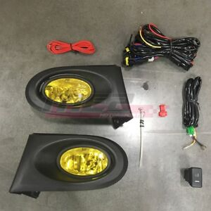 For Acura RSX 02-04 Factory Replacement Fit Fog Lights + Wiring Kit Yellow Lens