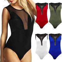 Womens Ladies Half Mesh Insert Bodysuit Sleeveless Leotard Plain Stretch 8 - 14