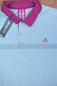 NWT Adidas Golf Climacool Performance Polo Shirt Gray Purple Men's 2XL XXL
