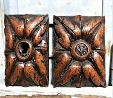 Two gothic rosette rosace ornament Antique french wooden salvaged furniture