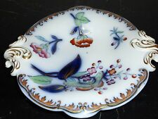 Antique Alba Porcelain Cobalt Hand Painted Footed Vowl With Handles