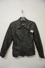 Women's Black Leather Coat   Size: Small (A1399)