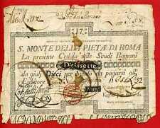 (B.ET 14)  ITALIE MONTE DE LA PIETA DI ROMA 17 SCUDI 1788 (RARE)