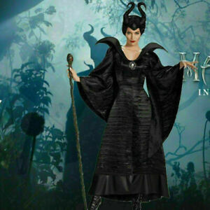 Ladies Maleficent Costume Deluxe Evil Queen Cosplay Outfit Fancy Dress Halloween