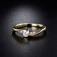 Round cut white Topaz Solitaire with Accents lady ring Sz5-9 in 18k gold filled