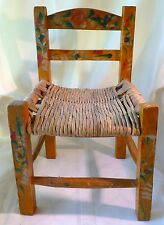 Antique HAND PAINTED Primitive Doll or Child  CHAIR FOLK ART Yellow With Flowers