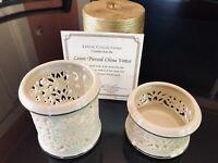 2 Lenox China Ivory Pierced Tealight Votive Candle Holders 24K Gold decoration
