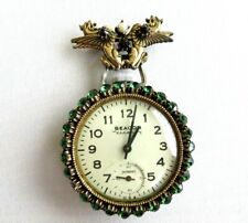 SALE! Vtg 50s Griffin Lapel Brooch W Large INGRAHAM Beacon Viceroy Watch Working
