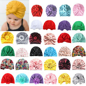 Kid Girl Baby Toddler Turban Knot Bow Hat Cap Casual Headband Headwrap Headwear.
