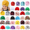 Newborn Kid Girl Baby Turban Knot Bow Floral Hat Cap Headband Hair Band Headwear