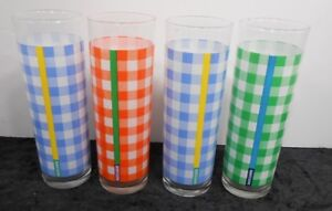 4 Ralph Lauren Colored Checkered Plaid Tom Collins Water Glasses